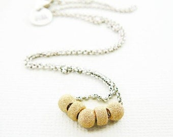 Necklace, Sterling Silver 14kt gold filled Slider Bead Pendant, 16 inch, Bridal Party, Wedding Bridal Party