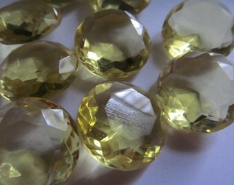 2 Vintage Glass Stones Jewels Faceted Pale Yellow Bling