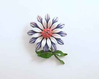 Vintage Flower Brooch Metal Enamel Pin