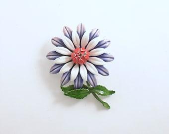 Vintage Flower Brooch Pin Wedding Bouquet Corsage Metal Enamel