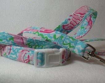 Handcrafted Lilly Pulitzer Lobstah Roll Print Fabric Dog Collar & Leash Set