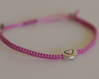 CUSTOM Little Heart Bracelet - Silver charm with your choice of color cord: pink red purple knotted macrame