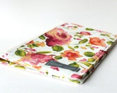 SALE - Floral Portfolio Organizer, Journal Cover, Pink Romantic Flowers -