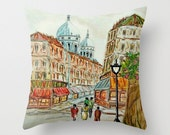 Paris art painting Pillow cover, Paris art print pillow, Paris apartment decor, Paris print pillow cover, Paris Decor  accessories- Free S&H