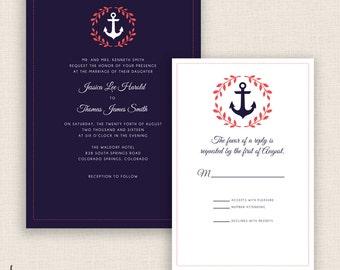 NAUTICAL NAVY - DIY Printable Wedding Set - Invitation and Reply Card