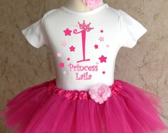 Stars 1st 2nd Birthday Personalized Name Age Shirt & Pink Tutu Set outfit girl 6 12 18 24 months Baby Toddler optional Headband