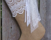 Burlap Christmas Stockings Cotton Lace Country French Farmhouse Chic Personalized Ivory 220