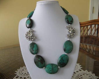 Stunning Green Beaded Necklace with Vintage Rhinestone Earrings Attached