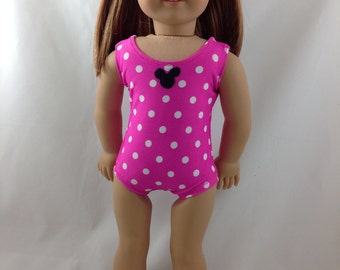 Shocking Pink Bathing Swim Suit for American Girl Doll Minnie Mouse Disneyland 18 inch doll