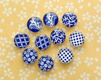 10pcs handmade assorted geometric blue and white round glass dome cabochons 12mm (12-0895)