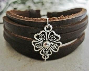 Brown Leather Clover Wrap Bracelet Cuff SALE PRICE