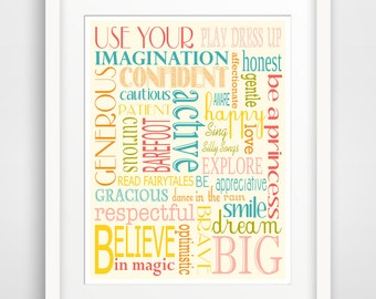 Children's Wall Art / Nursery Decor / Kid's Room Be a Princess Use your Imagination Girl Typography ... - Poster Print by Finny and Zook