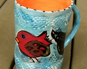 ceramic mug birds turquoise and orange funky whimsical handmade tall cup bird vase