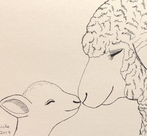 Nursery Art Print Sheep Lamb Illustration Sheep Ink by mikaart