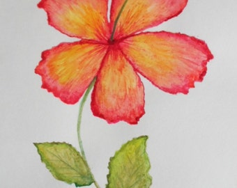 Watercolor Painting Hibiscus Watercolor Floral Painting