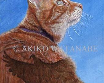Akiko ORIGINAL 11x14 Painting Orange Tabby Cat