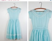 PROM SALE 1950s Baby Blue Swiss Dot Sheer Party Dress