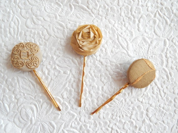Beige mix hair-pins, floral hair-pins, embroidered hairpins,  1 1/8 inch hairpin, hair accessory, womens accessory