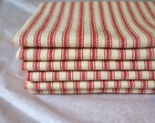 Red Ticking Cloth Napkin Bundle, set of 12 by Dot and Army