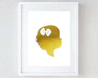 Real Gold Foil Custom Silhouette Portrait From Your Photographs - Gold Foil Print - Mother's Day Gift - Portrait Drawing by Le Papier Studio