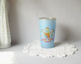 Coronation Souvenir Vintage Drinking Glass Queen Elizabeth Collectible Frosted Glass Tumbler