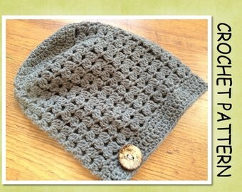 PDF Crochet Pattern - Fitted Cluster Slouchy Hat - 6 sizes - Newborn to Adult