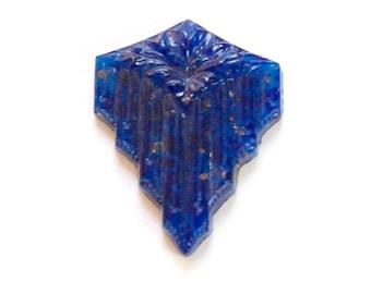 Vintage Lapis Blue Glass Deco Stone Cabochon cab341A
