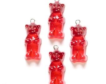 Red Gummi Bear Charms Drops (4) chr152C