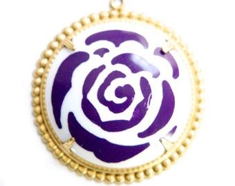 Pop Color Purple Flower Cab in Brass Findings Earrings or Pendant  (2) pnd167E