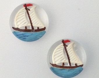 Round Glass Sailboat Intaglio Cabochons 13mm (2) int003A