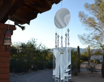 Windchime White Wispy Glass Suncatcher