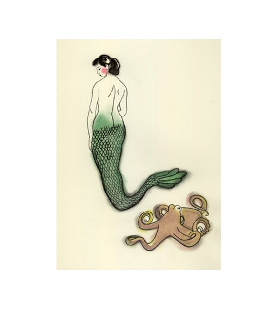 Mermaid art print -  Jemima takes Harry for a walk -  8.3 X 11.8 print - 4 for 3 SALE