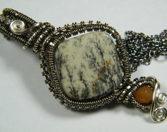 Dendritic Limestone with faceted Golden Quartz woven wire wrapped bead pendant, necklace