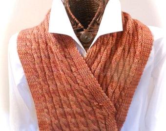 Hand-Knit Burnt Orange Tweed Cowl/Hood/Scarf