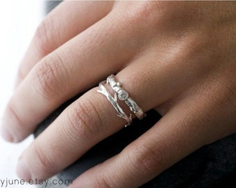 14k White Gold Diamond Branch and Twig Ring Set | Stacking Set | Nature Inspired Rings