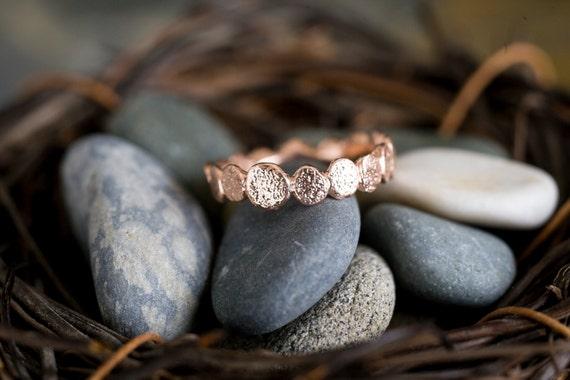 Single Rose Gold Vermeil Pebble ring   Stacking Ring   Rose GoldVermeil Ring