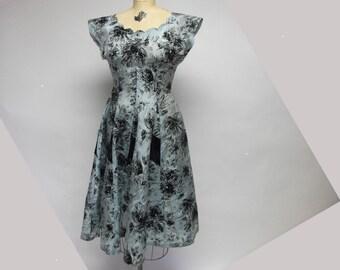 50s Vintage Taffetta Dress with Velvet Trim