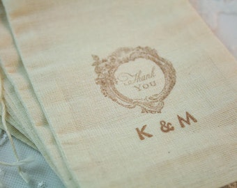 Thank You Favor Bags Personalized Wedding Bags Muslin Drawstrings Initials SET OF 10