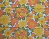 SALE! Seventies vintage floral fabric - 1/2 yard