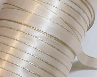 Ivory Ribbon, Double-faced ivory gold edge satin ribbon 5/8 inch x 10 yards, SECOND QUALITY FLAWED