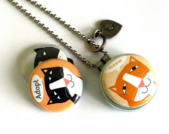 Cat Necklace, Cat Lover Gift, Cat Jewelry, Cat Adoption Locket, 3 Necklaces in 1, Adopt a Cat, Gift for Her, Adorable Cat Art Jewelry