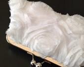White Frayed Rosette Clutch
