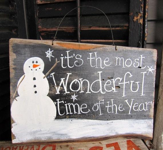 Primitive Snowman Sign Christmas Sign Prim Snowman