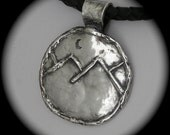 Rustic Mountain Pendant - Crescent Moon - Recycled Silver - Reclaimed - Eco friendly - leather cord