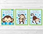 Cute Monkey Bathroom Wall...