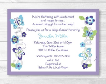 Cute Butterfly Baby Shower Invitation / Butterfly Baby Shower Invite / Purple Butterfly / Baby Girl Shower / PRINTABLE