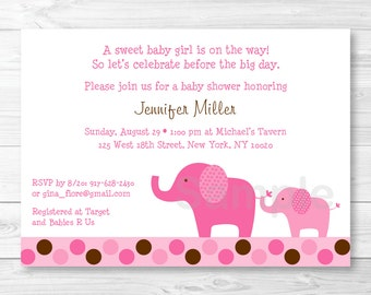 Pink Polka Dot Elephant Baby Shower Invitation PRINTABLE