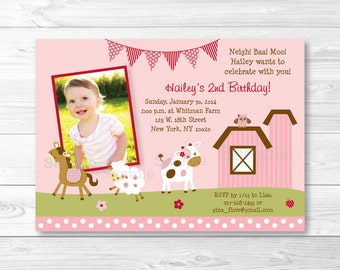Pink Farm Animal Birthday Invitation PRINTABLE Any Age