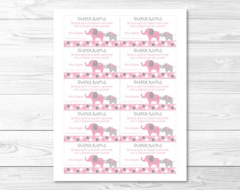 Pink Elephant Diaper Raffle Tickets INSTANT DOWNLOAD