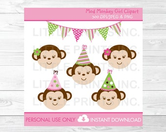 Cute Girl Monkey Birthday Clipart / Monkey Clipart / Mod Monkey / Pink & Green / 1st Birthday / 2nd Birthday / PERSONAL USE Instant Download